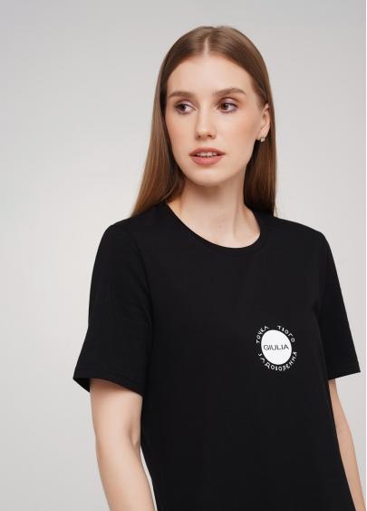 Бавовняна футболка з круглим вирізом і принтом Giulia 4802/60 (чорний)