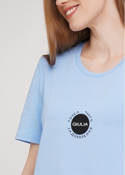 Бавовняна футболка з круглим вирізом і принтом Giulia 4802/60 (блакитний)