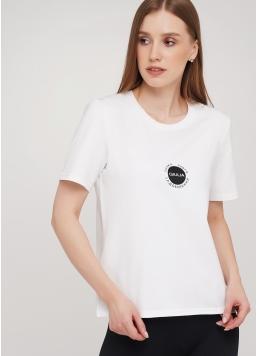 Бавовняна футболка з круглим вирізом і принтом Giulia 4802/60 (білий)