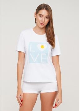 Бавовняна футболка з принтом T-shirt print 4802/60 love (білий)