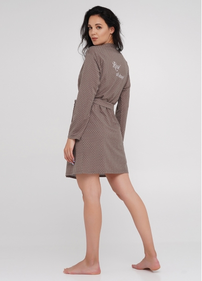 Короткий халат з принтом на спині та горохом JULIET 7302/030
