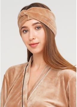 Велюрова пов'язка на голову SOFT WINTER camel (бежевий) Giulia