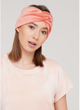 Велюрова пов'язка на голову SOFT WINTER coral (помаранчевий) Giulia