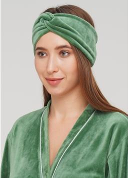 Велюрова пов'язка на голову SOFT WINTER green (зелений) Giulia