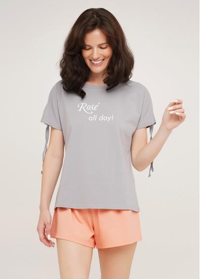 Бавовняна піжама з короткими рукавами та шортиками ROSE 6114/010