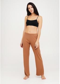 Довгі штани з бавовни в рубчик RIB 4307/010 camel (бежевий)