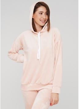 Жіночий велюровий світшот з капюшоном SOFT WINTER 4404/080 (рожевий)