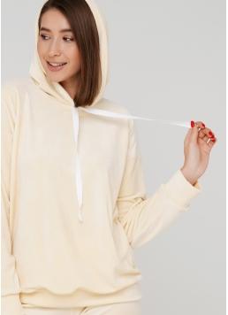 Жіночий велюровий світшот з капюшоном SOFT WINTER 4404/080 (ванільний)