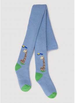Махрові колготки для малюків з малюнком жирафа DTe-001 baby blue (блакитний)