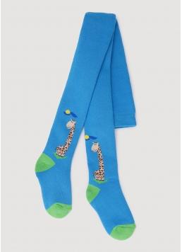 Махрові колготки для малюків з малюнком жирафа DTe-001 blue (блакитний)