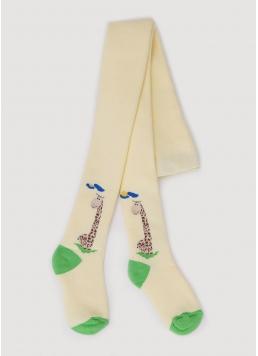 Махрові колготки для малюків з малюнком жирафа DTe-001 light yellow (жовтий) Giulia