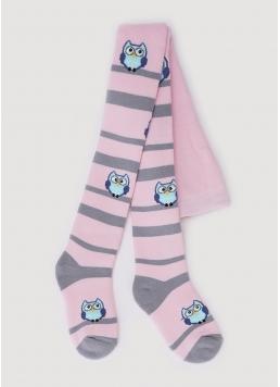 Дитячі колготки махрові в смужку з малюнками сов DTe-002 pearl (рожевий) Giulia