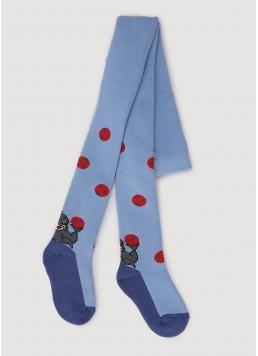 Дитячі колготки махрові з малюнком DTe-003 baby blue (блакитний)
