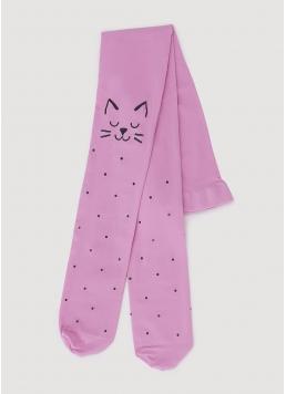 Дитячі колготки з кішками на колінах KATIE 80 (2) sweet lilac (ліловий)