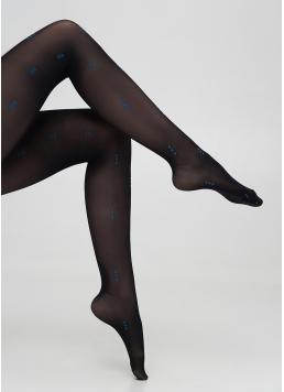 Колготки з геометричним малюнком ARIA 40 (1) nero/blue (чорний/блакитний)