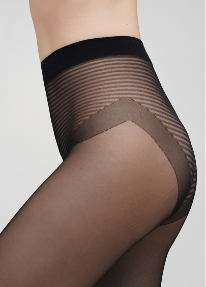 Колготки з імітацією шкарпеток в смужку CROSSWALK 20 (1) nero (чорний)
