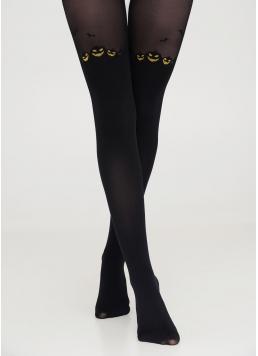 Тематичні колготки з гарбузами та імітацією панчіх PUMPKIN TIGHTS black (чорний) Giulia