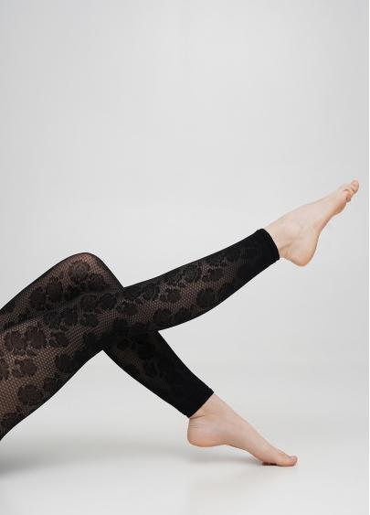 Тонкі капронові легінси з квітковим візерунком ROSEBUD LEGGINGS 40 nero (чорний)