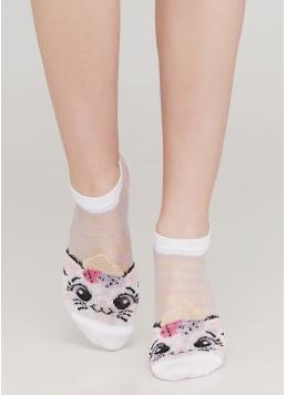 Дитячі шкарпетки прозорі в смужку і з малюнком котика KS2 CRISTAL 001 Giulia