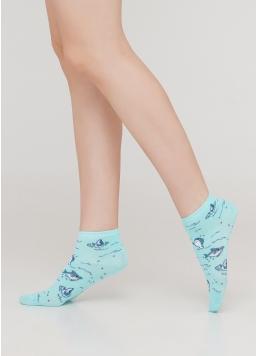 Дитячі короткі шкарпетки з малюнком акул KS2 MARINE 001 (м'ятний) Giulia