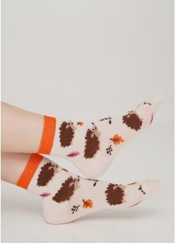 Дитячі шкарпетки з малюнком їжаків KS3 AUTUMN 001 panna (бежевий) Giulia