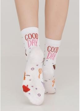 Дитячі шкарпетки з написом ззаду та малюнком KS3 AUTUMN 003 white (білий) Giulia