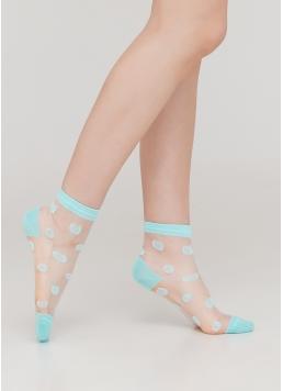 Дитячі шкарпетки прозорі в горошок KS3 CRISTAL 007 (м'ятний) Giulia