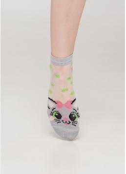 Дитячі шкарпетки з прозорою вставкою і малюнком котика KS3 CRISTAL 013