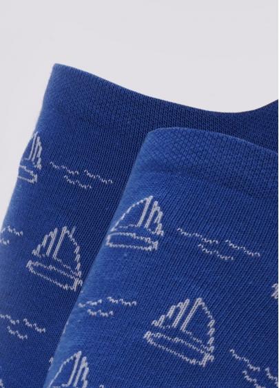 Шкарпетки чоловічі короткі з малюнком вітрильних яхт MS1 MARINE 009 (синій) Giulia