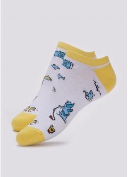 Чоловічі короткі шкарпетки з пляжним малюнком MS1 TROPIC 002 (білий)