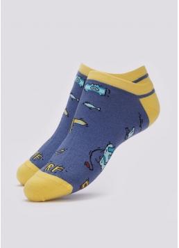 Чоловічі короткі шкарпетки з пляжним малюнком MS1 TROPIC 002 (синій) Giulia