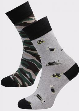 Чоловічі високі шкарпетки з малюнком MS3 SOFT FASHION 053 (пак х2) Giulia