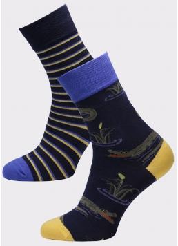 Чоловічі високі шкарпетки з малюнком MS3 SOFT FASHION 055 (пак х2) Giulia