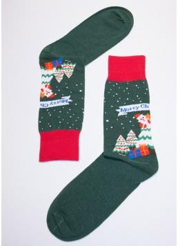 Новорічні чоловічі шкарпетки MS3C / Sl-NEW YEAR-004 dark green (зелений)