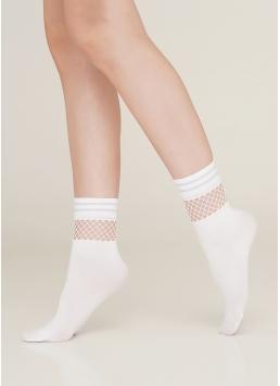 Жіночі шкарпетки з сіткою MN 03 bianco (білий)