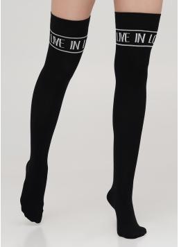 Ботфорти з бавовни з написом над коліном WB1 TEXT 002 (чорний)