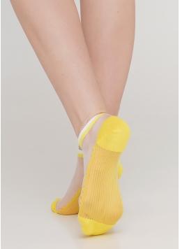Шкарпетки короткі прозорі з бавовняною стопою WS1 CRISTAL 029 (жовтий) Giulia