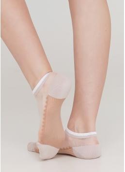Шкарпетки короткі прозорі з бавовняною стопою WS1 CRISTAL 029 (бежевий) Giulia