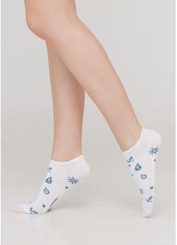 Жіночі короткі шкарпетки з морським малюнком WS1 MARINE 008 (білий)