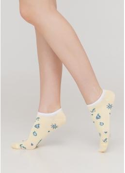 Жіночі короткі шкарпетки з морським малюнком WS1 MARINE 008 (жовтий)