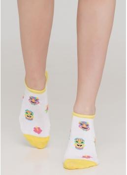 Шкарпетки короткі жіночі з малюнком WS1 TROPIC 001 (білий) Giulia