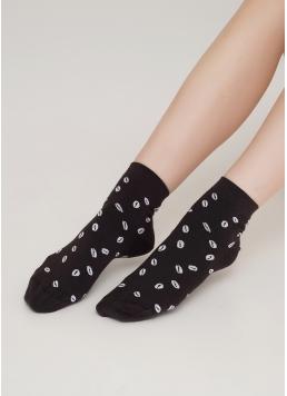 Жіночі шкарпетки з малюнком кавових зерен WS2 COFFEE 001 caffe (коричневий)