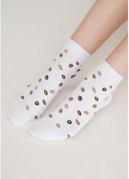 Шкарпетки з бавовни з малюнком кавових зерен WS2 COFFEE 002 white (білий) Giulia