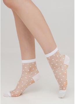 Прозорі жіночі шкарпетки в горошок WS2 CRISTAL 004 [WS2C/Mn-004] (білий) Giulia