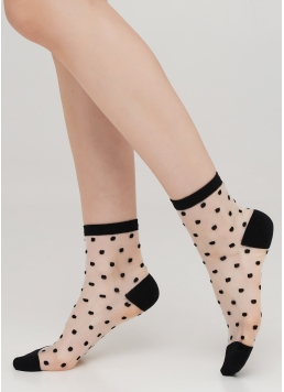 Прозорі жіночі шкарпетки в горошок WS2 CRISTAL 004 [WS2C/Mn-004] (чорний) Giulia