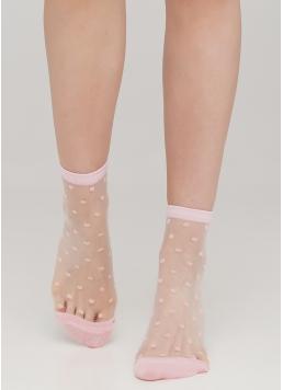 Прозорі жіночі шкарпетки в горошок WS2 CRISTAL 004 [WS2C/Mn-004] (рожевий) Giulia