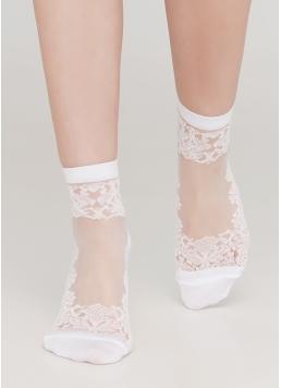Жіночі шкарпетки з прозорою вставкою та візирунком WS2 CRISTAL 005 (білий) Giulia