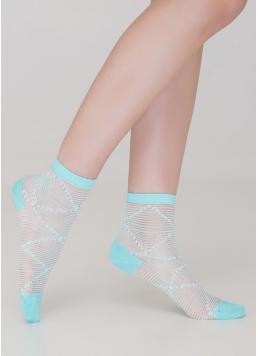 Жіночі шкарпетки прозорі в смужку WS2 CRISTAL 049 (м'ятний)
