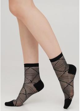 Жіночі шкарпетки прозорі в смужку WS2 CRISTAL 049 (чорний)