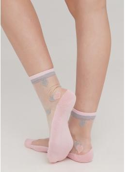 Жіночі шкарпетки прозорі з бавовняною стопою в сердечка WS2 CRISTAL 066